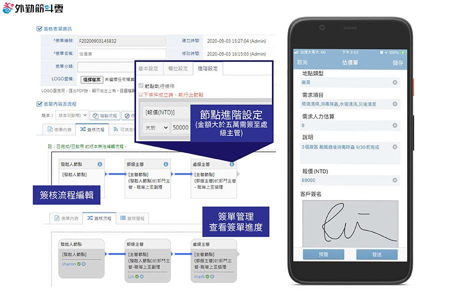 簽核單及簽核流程編輯與手機填寫畫面
